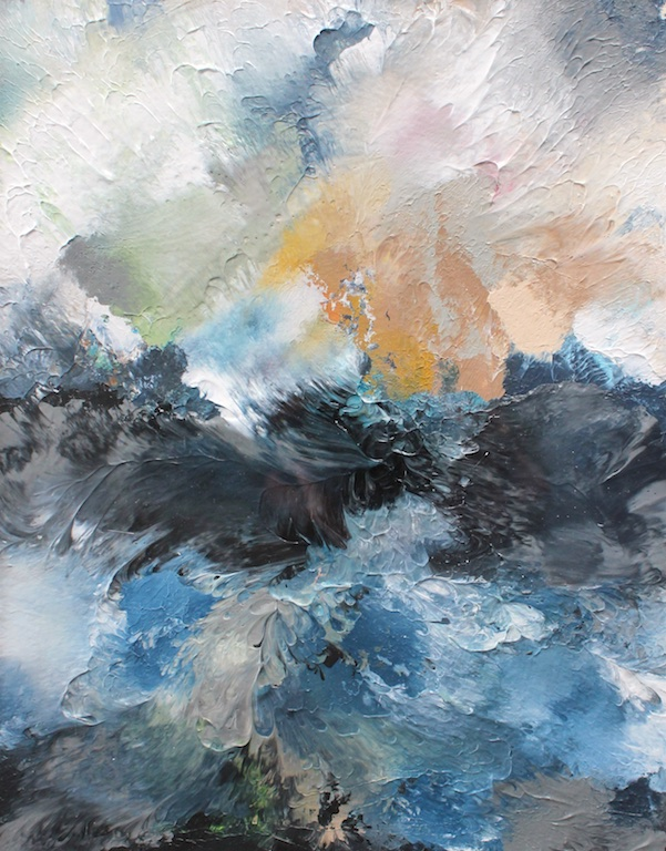 """ABSTRACT SEASCAPE (II)  9"""" X 11""""  Acrylic on paper   SOLD  (contact for custom painting)"""