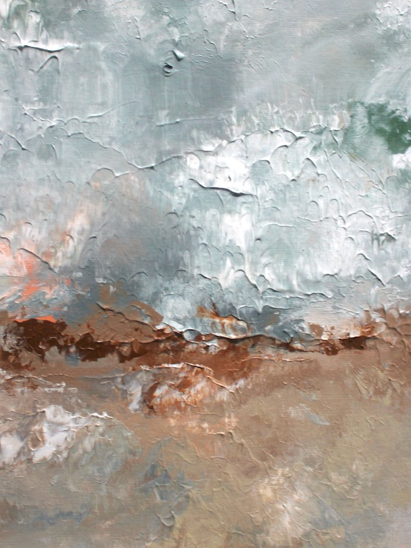"""ABSTRACT BEACH IN MORNING (II)  9"""" X 11""""  Acrylic on paper   SOLD  (contact for custom painting)"""