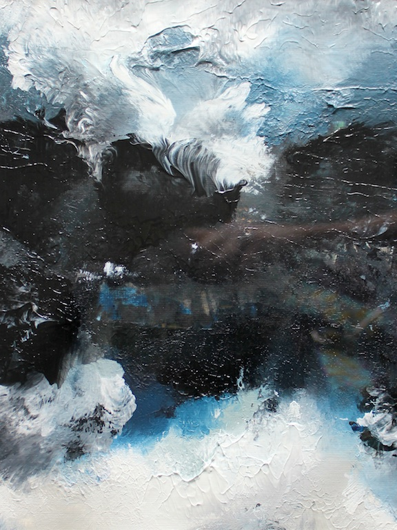 """ABSTRACT SEASCAPE DURING STORM (I)  9"""" X 11""""  Acrylic on paper   SOLD  (contact for custom painting)"""