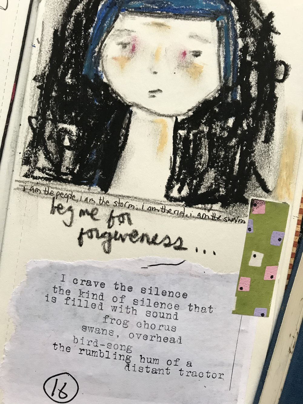 Okay…just a small peek, (for the tiny handful of you lovely people who actually read my blog)….into the jumbled workings of my brain: song lyrics plus scribbly-sketch plus bit of an old zine that I used to make. It's all about remembering…sort of a soul-retrieval.