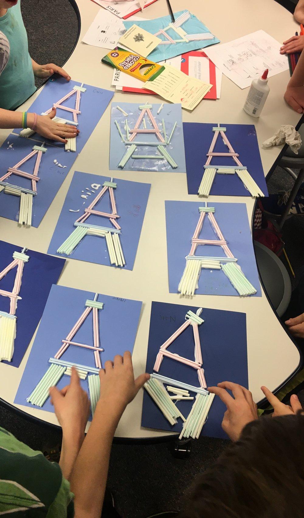 Building Eiffel Towers! (Let's go to Paris unit) at Jackson Via Elementary Spring 2017