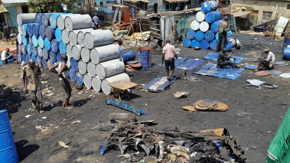 Metal recycling spot at Kibuye market