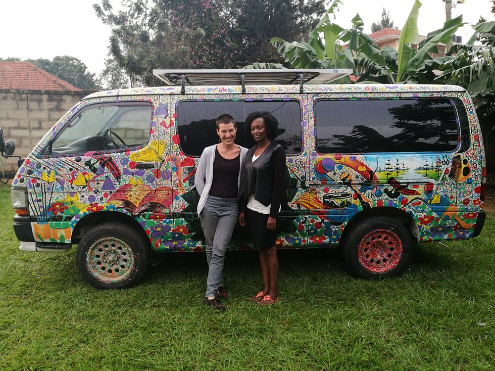 Susan and Maria in front of the Matatu