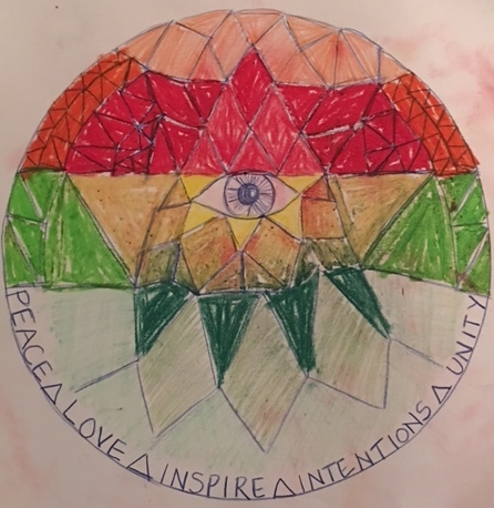 """My mandala. The eye was my center, and my starting point.  Mandala is a sanskrit word meaning """"circle"""". A mandala is a geometric figure representing the universe in Hindu and Buddhist symbolism."""