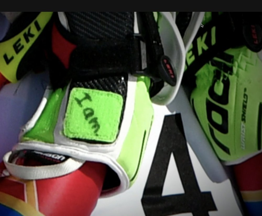 What Olympic Gold medalist Mikaela Shiffrin writes on her glove before a race...