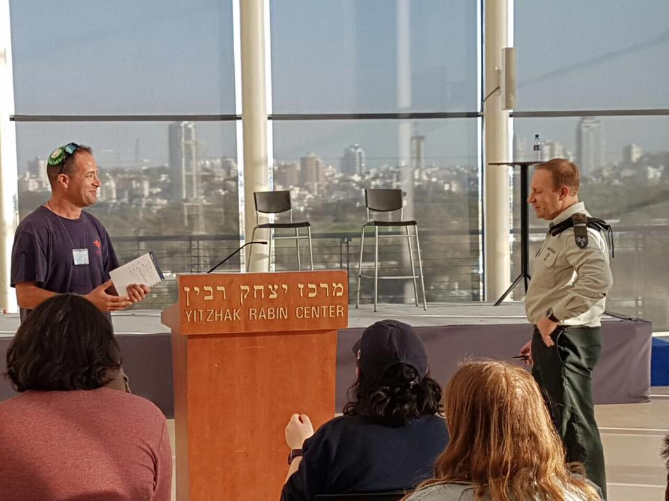 Tuvia Book with IDF Spokesman Peter Lerner, talking about the challenges of defending Israel's military to the international press.