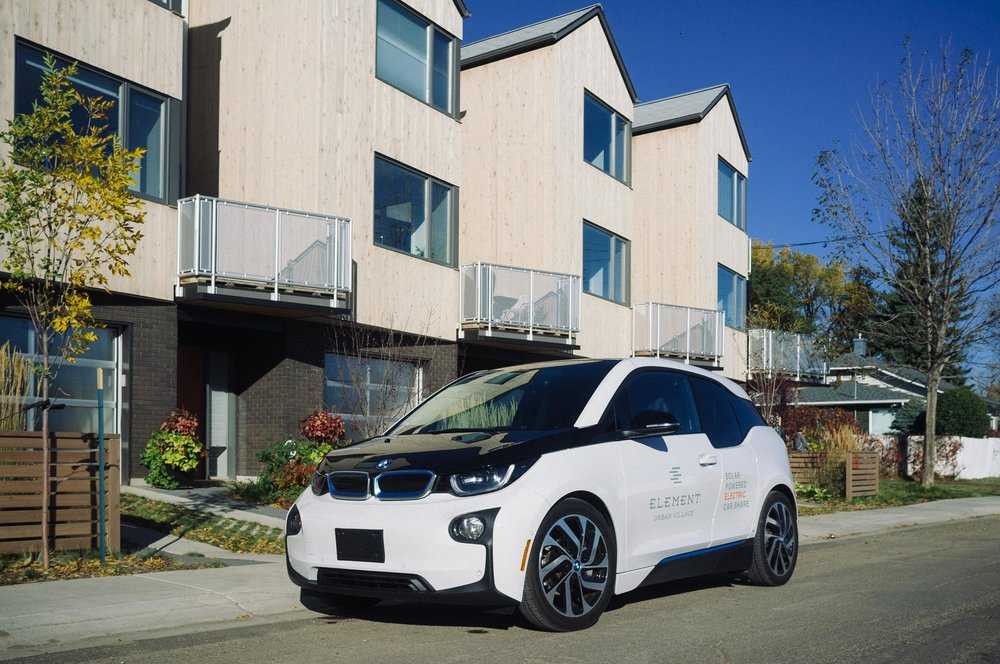 When the car is moved to Element, its new permanent home will be a common parking stall just off the shared courtyard, equipped with a high-speed EV charging station. Its energy—12,000 km/yr of it, to be exact—will come from a 2 kW peak power solar panel system from  Roots Rock Solar  installed on the roof of the  Phase II Courtyard  building. How's that for sustainable?