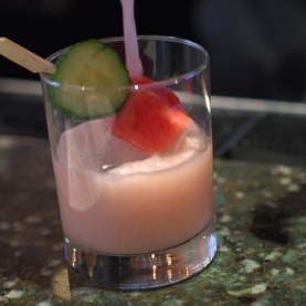 Cocktail with cucumber and watermelon