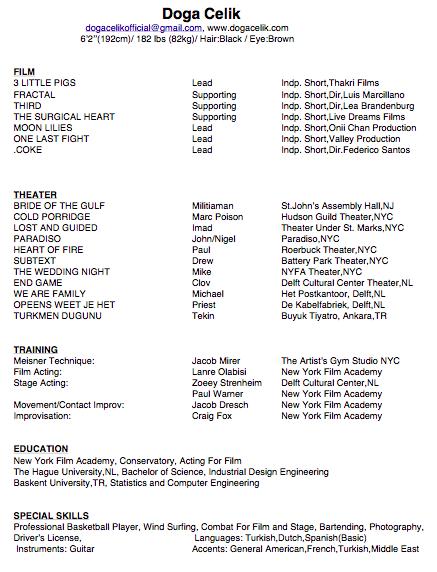 Resume & Size Card — Doga Celik