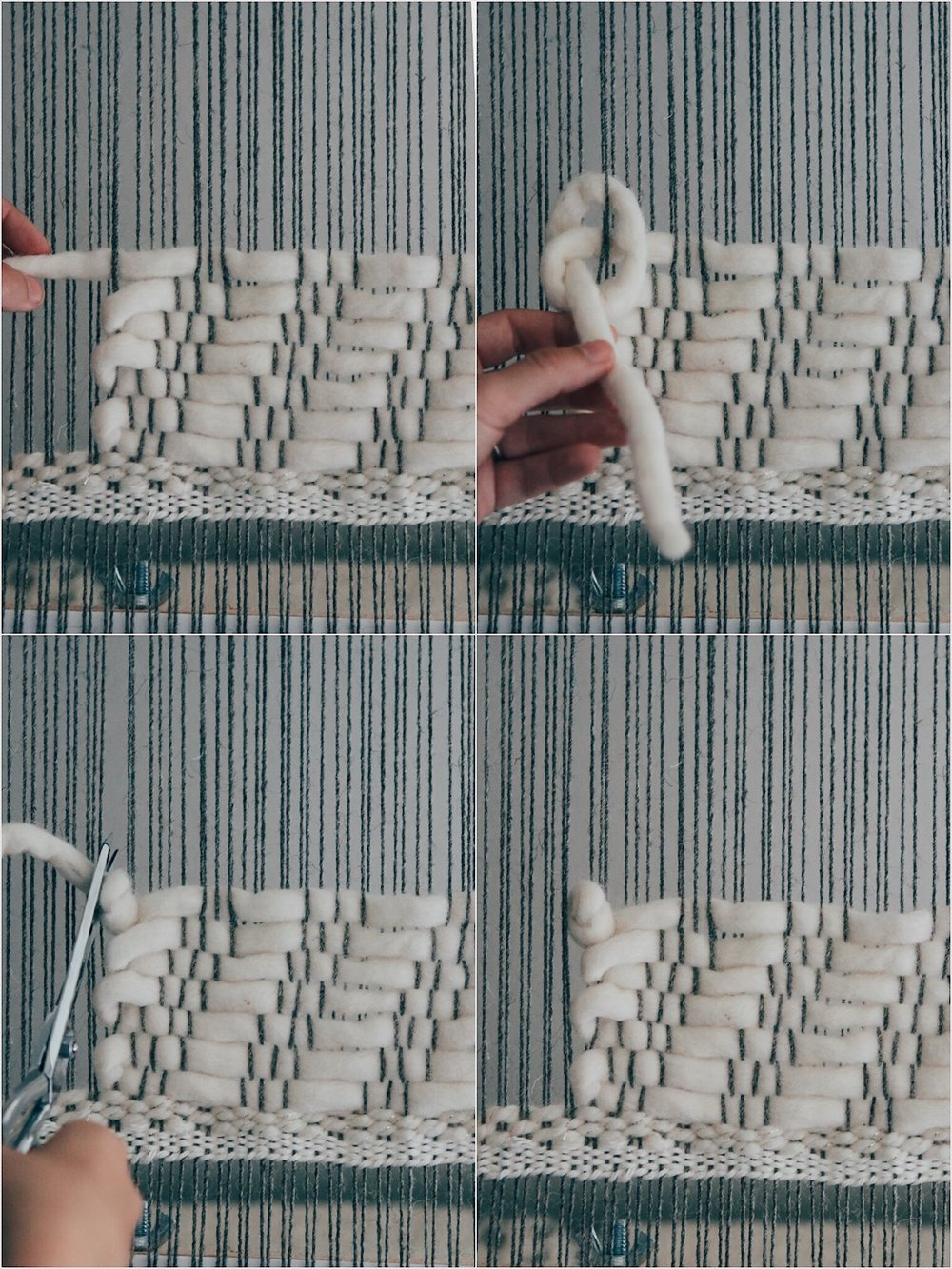 Weaving with chunky yarn tutorial. Knot the end.