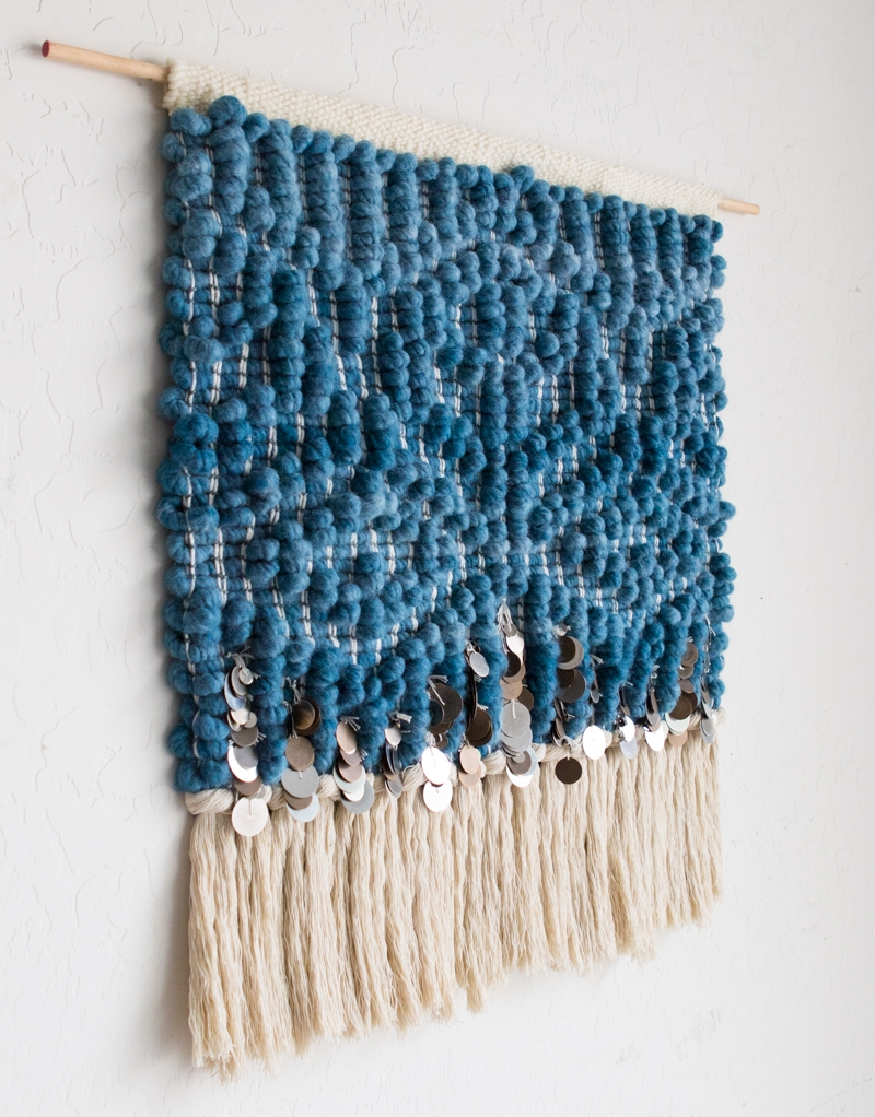 Hello Hydrangea Indigo Handwoven Tapestry