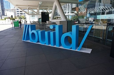 Large light blue Build sign.