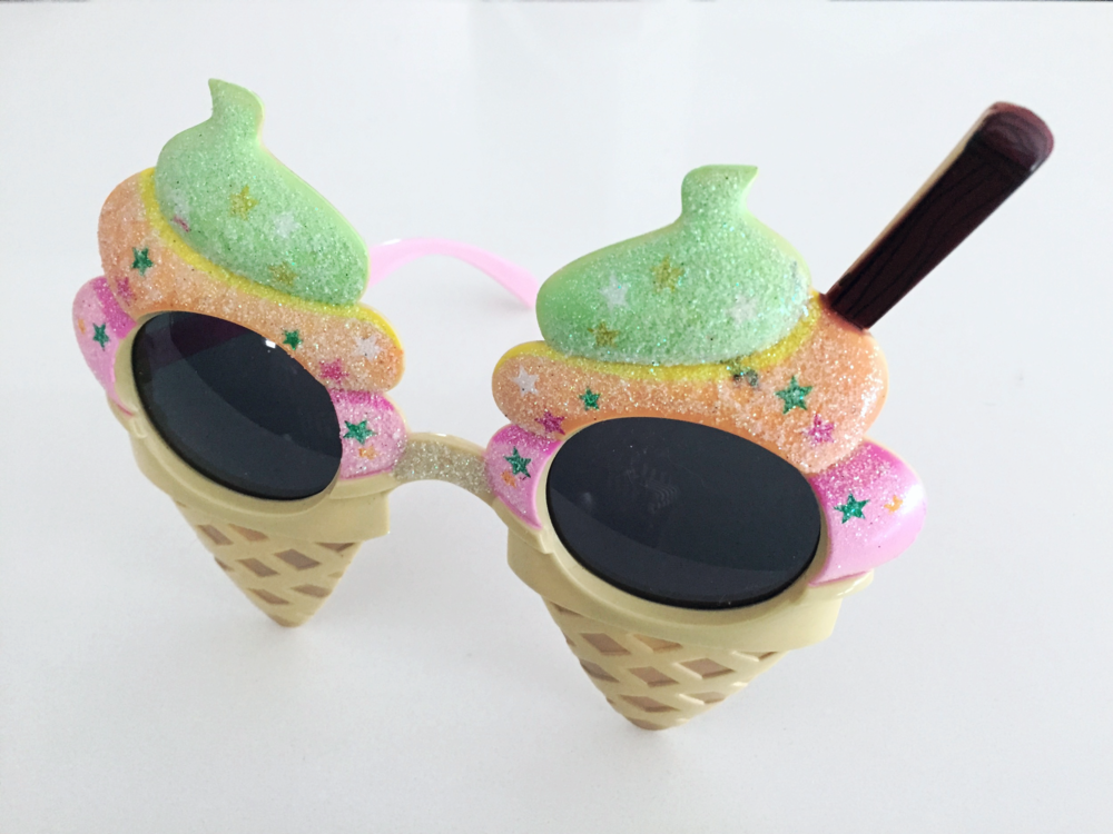 Happy birthday ice cream cone glasses, $10