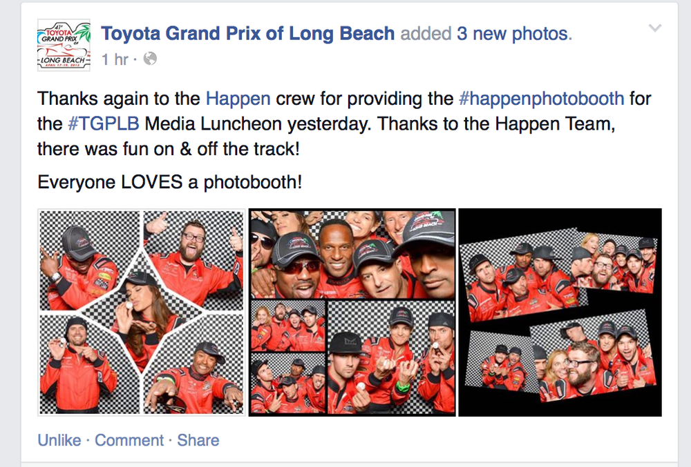 Social media love from the TGPLB for the Pro Celebrity Race Luncheon