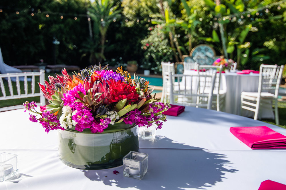 Vibrant Fiesta Backyard Wedding Reception beautiful colorful spring blooms.jpg