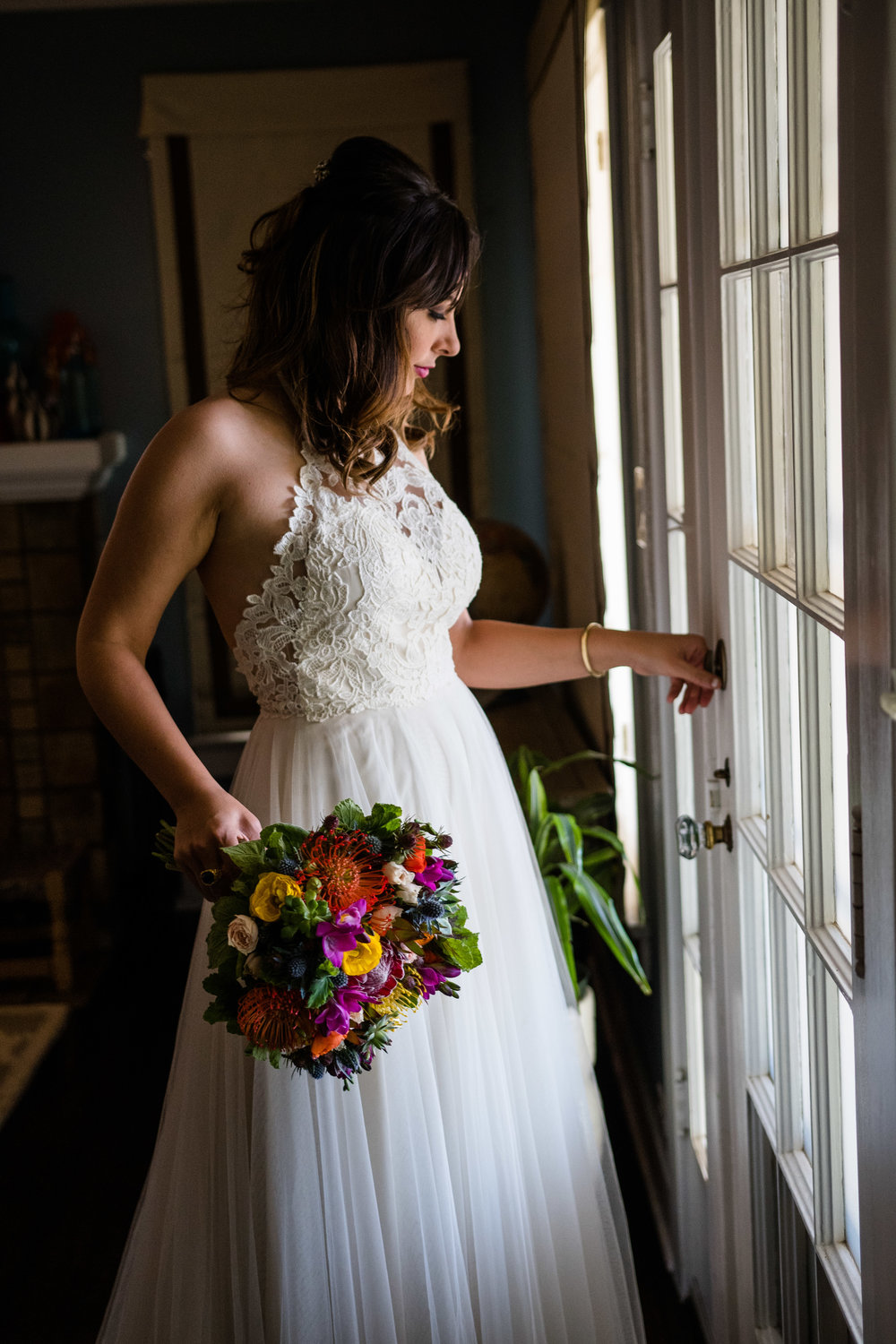 Vibrant Fiesta Backyard Wedding Reception bride getting ready to make her entrance.jpg
