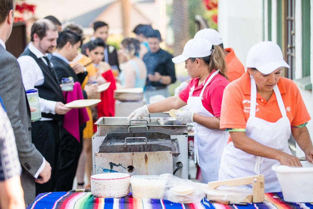 Vibrant Fiesta Backyard Wedding Reception mexican buffet.jpg