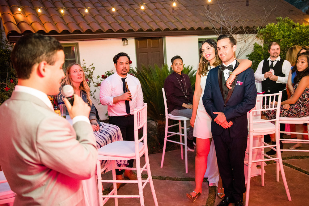 Vibrant Fiesta Backyard Wedding Reception groomsman toasts.jpg