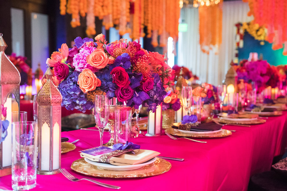 Moroccan Inspired Baby Shower Party bright hot pink tablecloths in honor of the new baby girl.jpg