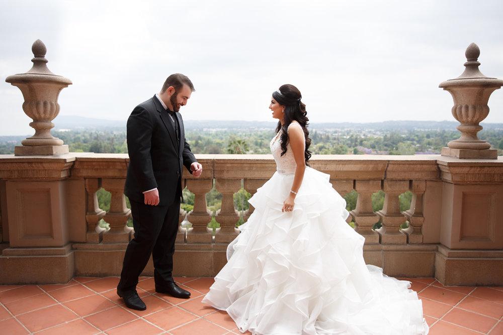 Elegant Pasadena Wedding to Make You Swoon groom happy to see bride after first look.jpg
