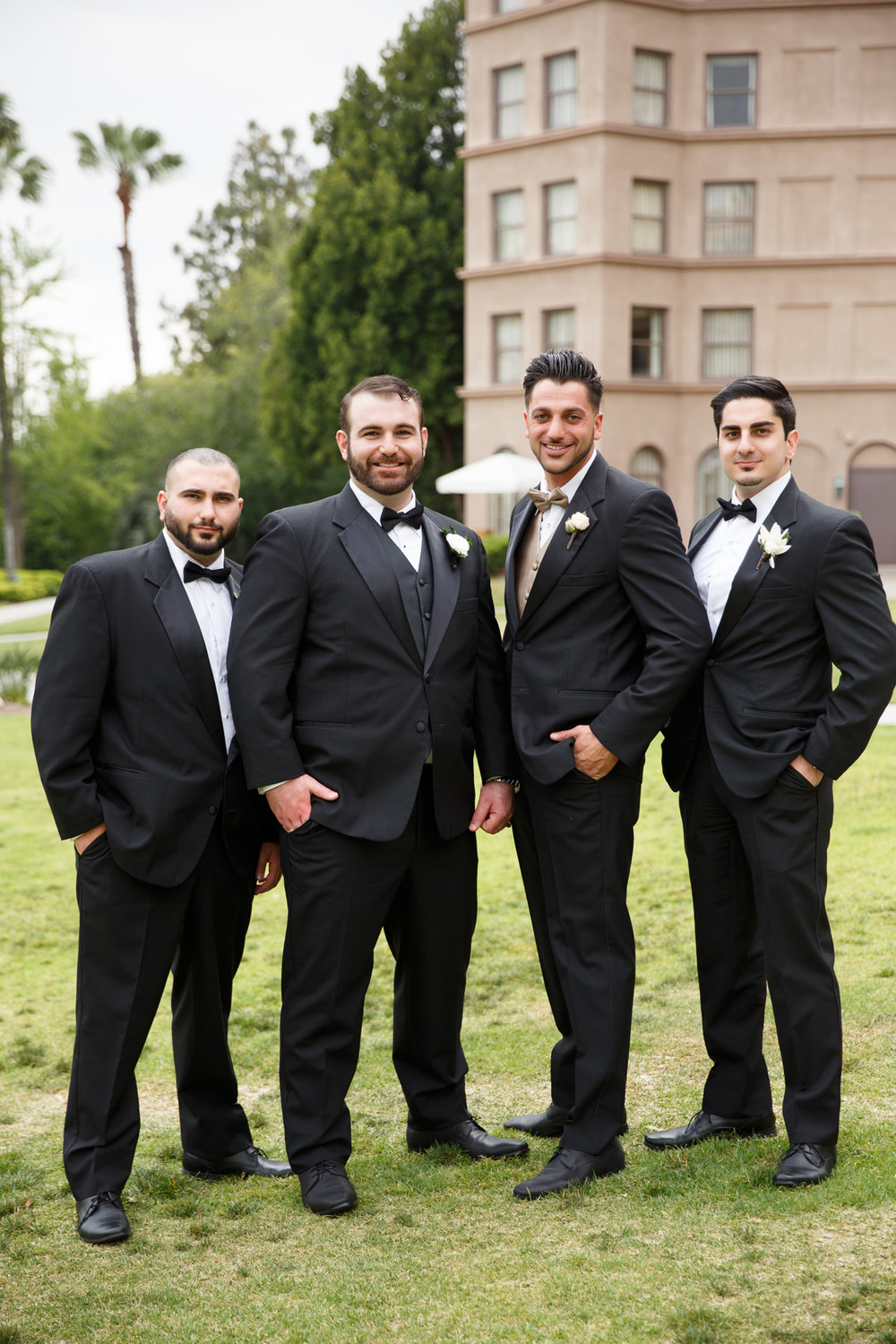 Elegant Pasadena Wedding to Make You Swoon groom and groomsmen at langham.jpg