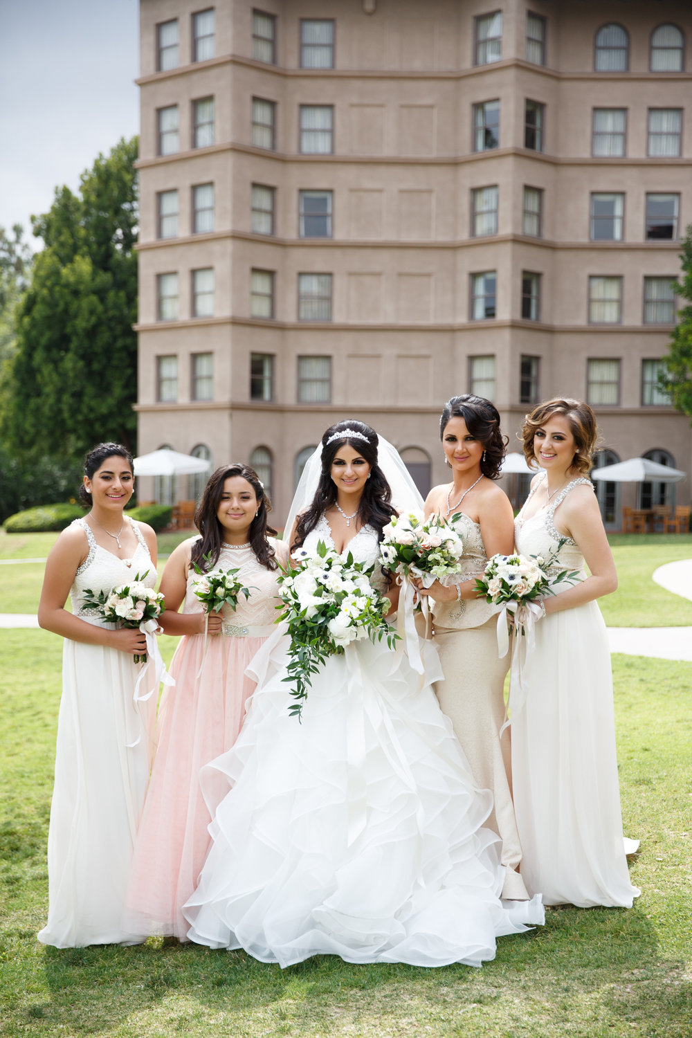 Elegant Pasadena Wedding to Make You Swoon bride and bridesmaids at langham.jpg