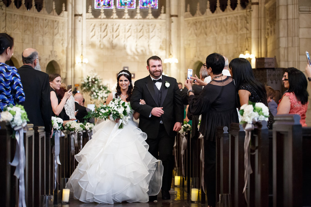 Elegant Pasadena Wedding to Make You Swoon happy couple leaving church.jpg