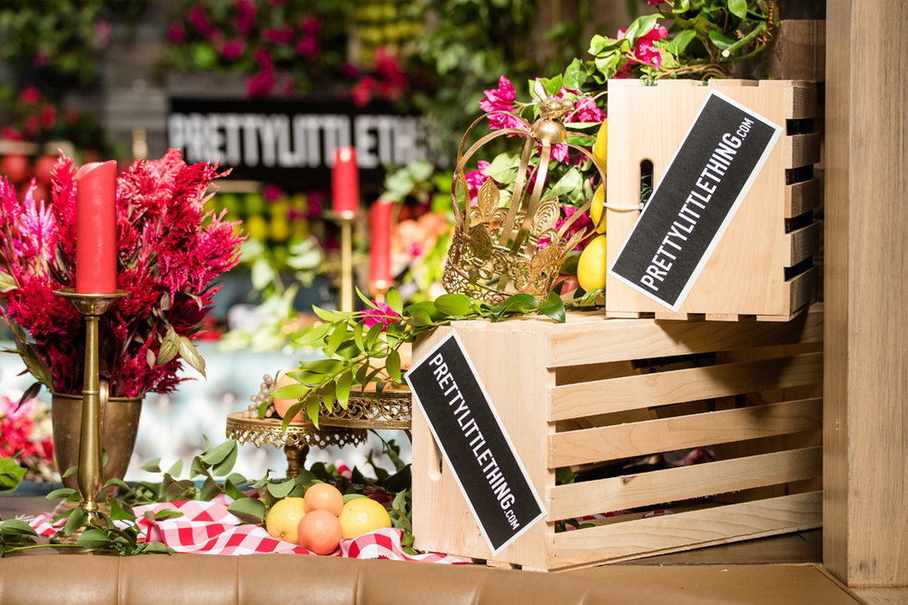 PrettyLittleThing PLT X Olivia Culpo Collection  Celebrity Launch Party wooden crates with custom branding.jpg