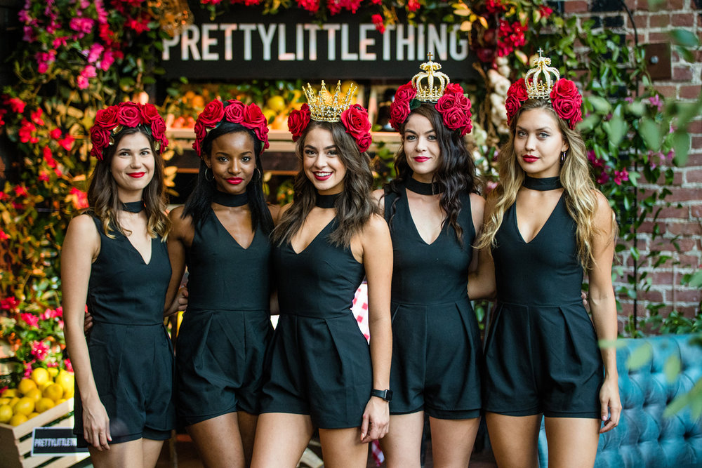 PrettyLittleThing PLT X Olivia Culpo Collection  Celebrity Launch Party models wear headresses from Scarlet Harlow.jpg