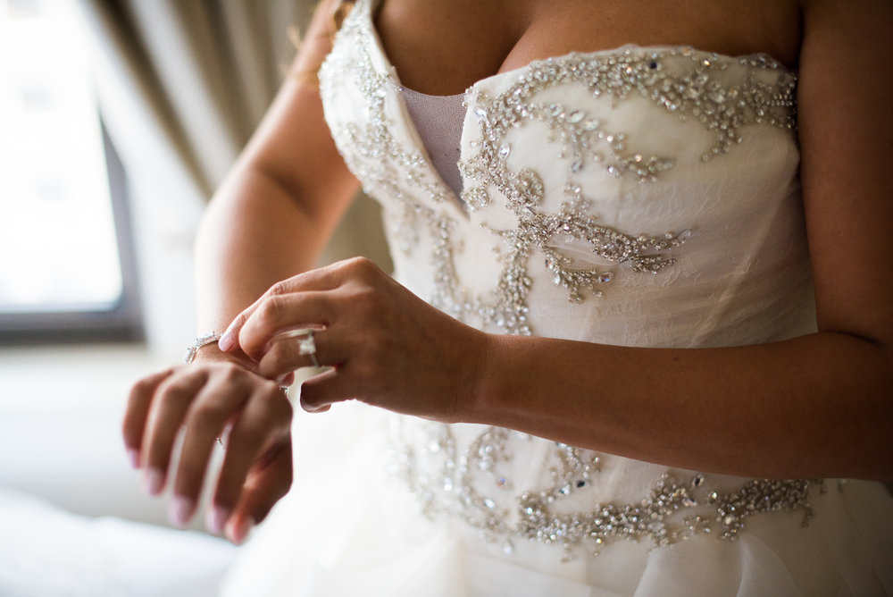 Dreamy Romantic Wedding at Historic Los Angeles Ebell Club beautiful details on brides gown.jpg