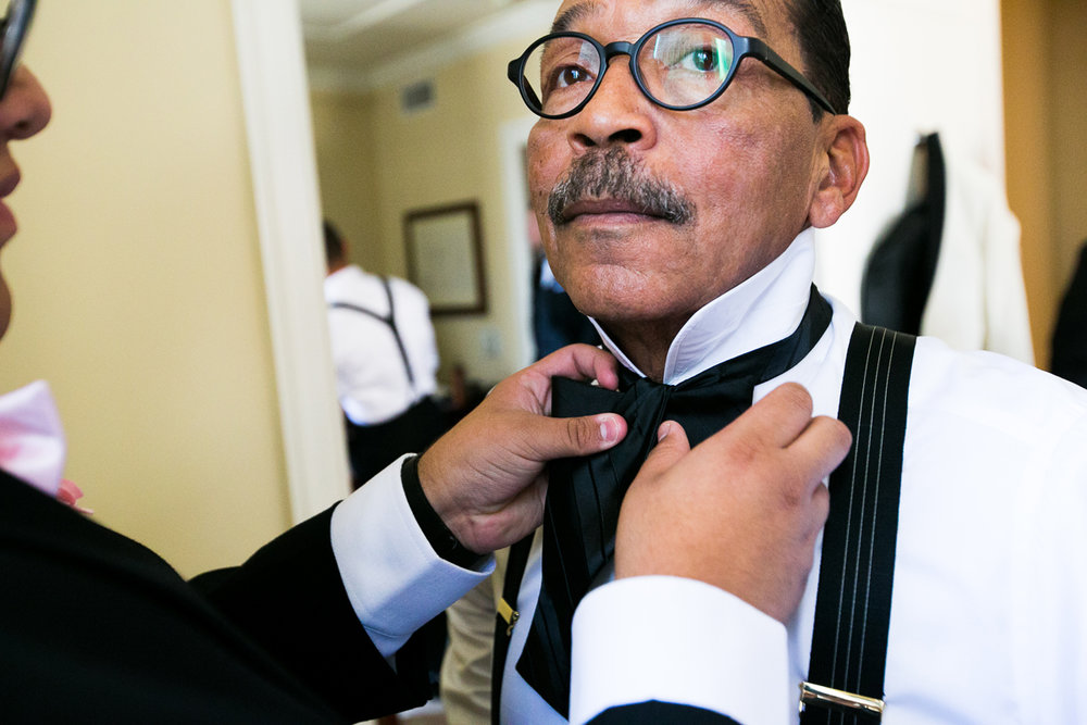 Dreamy Romantic Wedding at Historic Los Angeles Ebell Club groom helping his father herb wesson.jpg