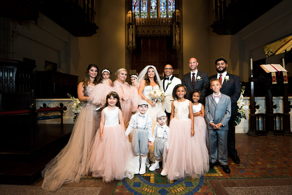 Dreamy Romantic Wedding at Historic Los Angeles Ebell Club wedding party in the church.jpg