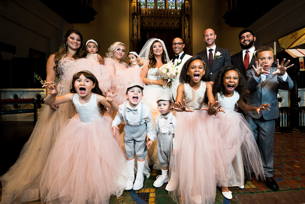 Dreamy Romantic Wedding at Historic Los Angeles Ebell Club silly wedding party photo.jpg
