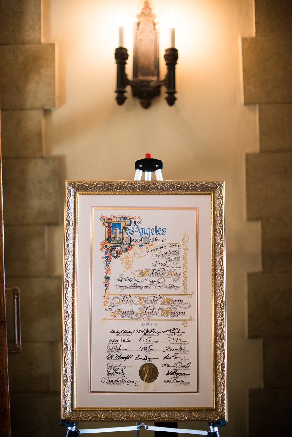 Dreamy Romantic Wedding at Historic Los Angeles Ebell Club wedding proclamation from city of los angeles.jpg