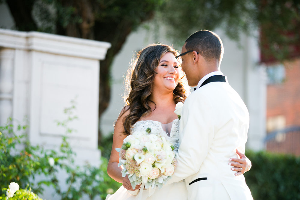 Dreamy Romantic Wedding at Historic Los Angeles Ebell Club bride and groom in front of Ebell before reception.jpg