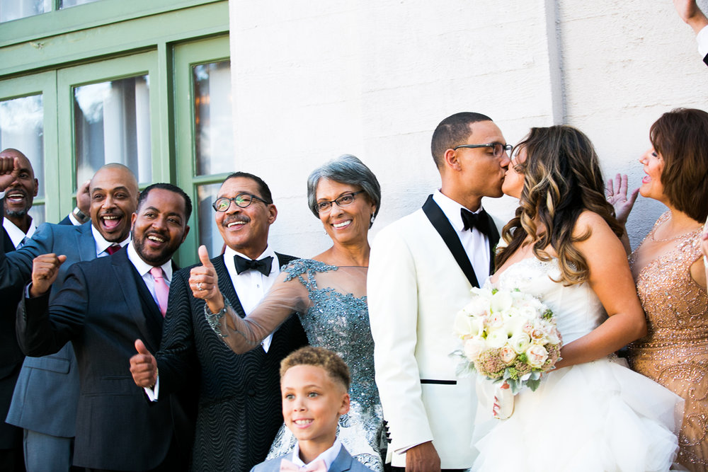Dreamy Romantic Wedding at Historic Los Angeles Ebell Club bride and groom with family.jpg