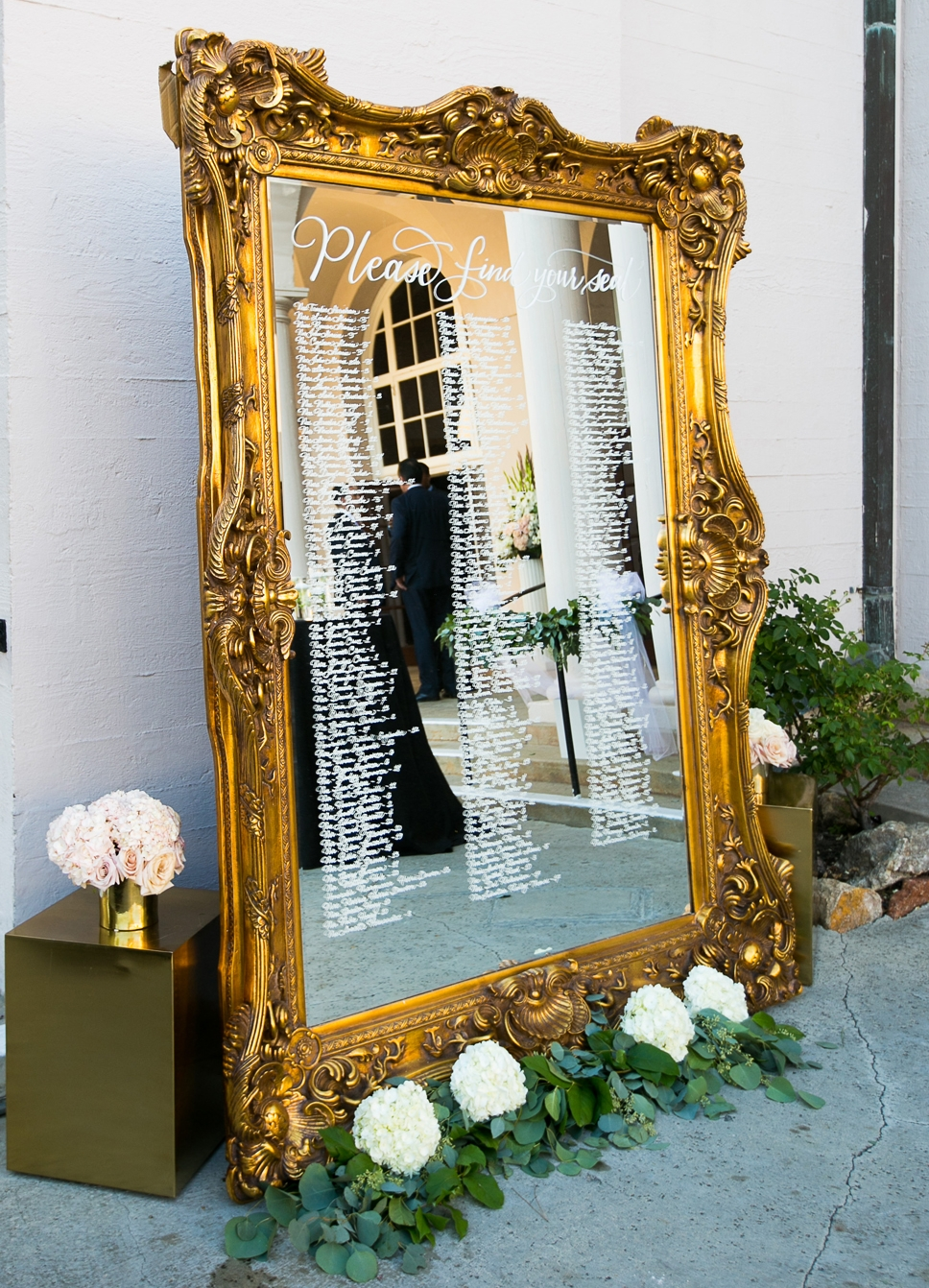 Dreamy Romantic Wedding at Historic Los Angeles Ebell Club table assignment mirror.jpg