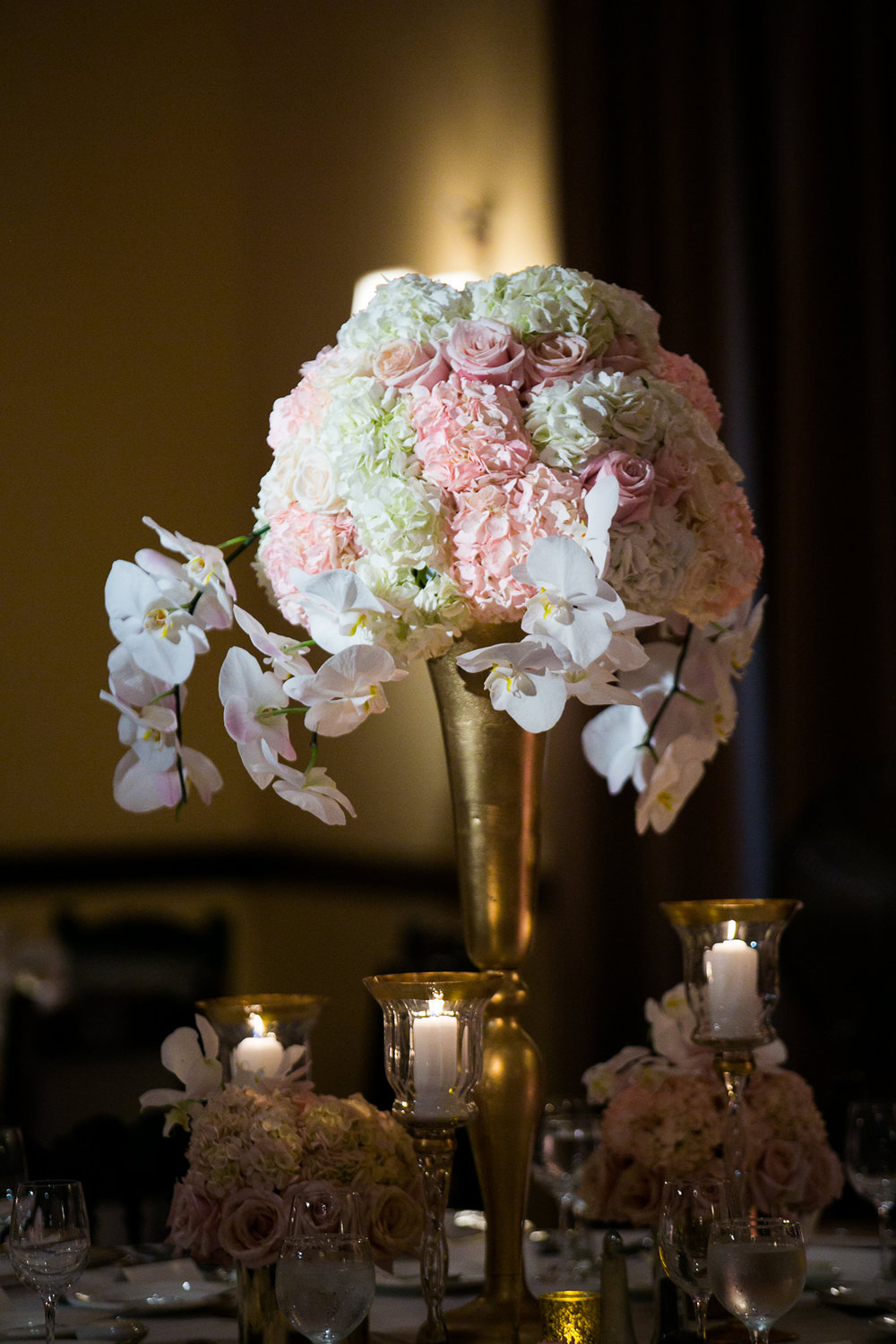 Dreamy Romantic Wedding at Historic Los Angeles Ebell Club white and pink centerpieces.jpg