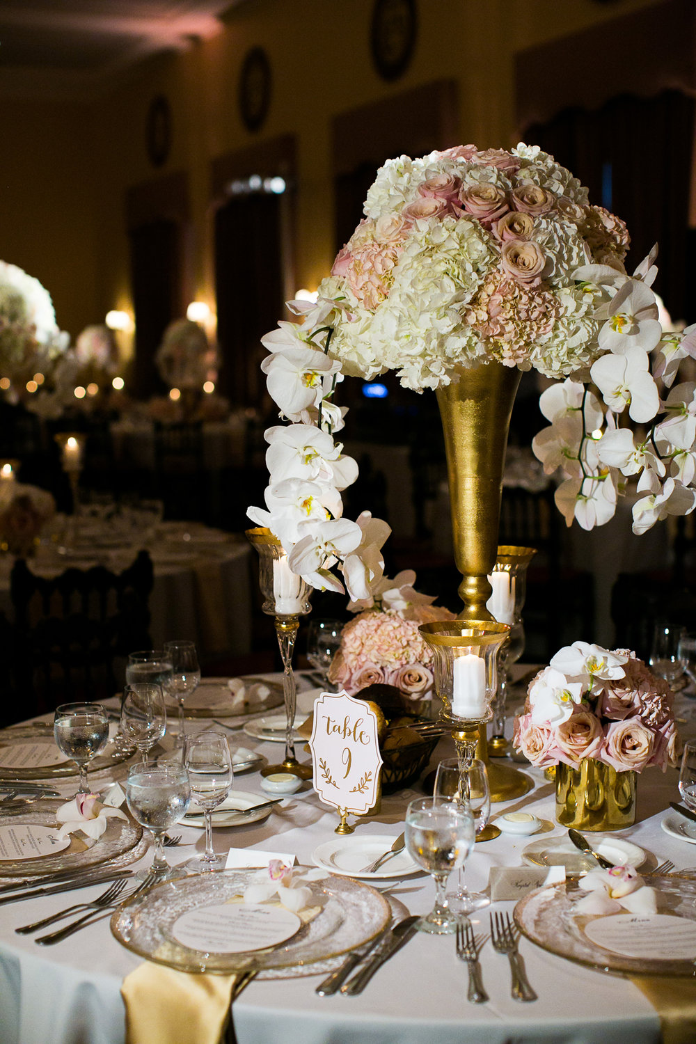 Dreamy Romantic Wedding at Historic Los Angeles Ebell Club floral centerpiece.jpg