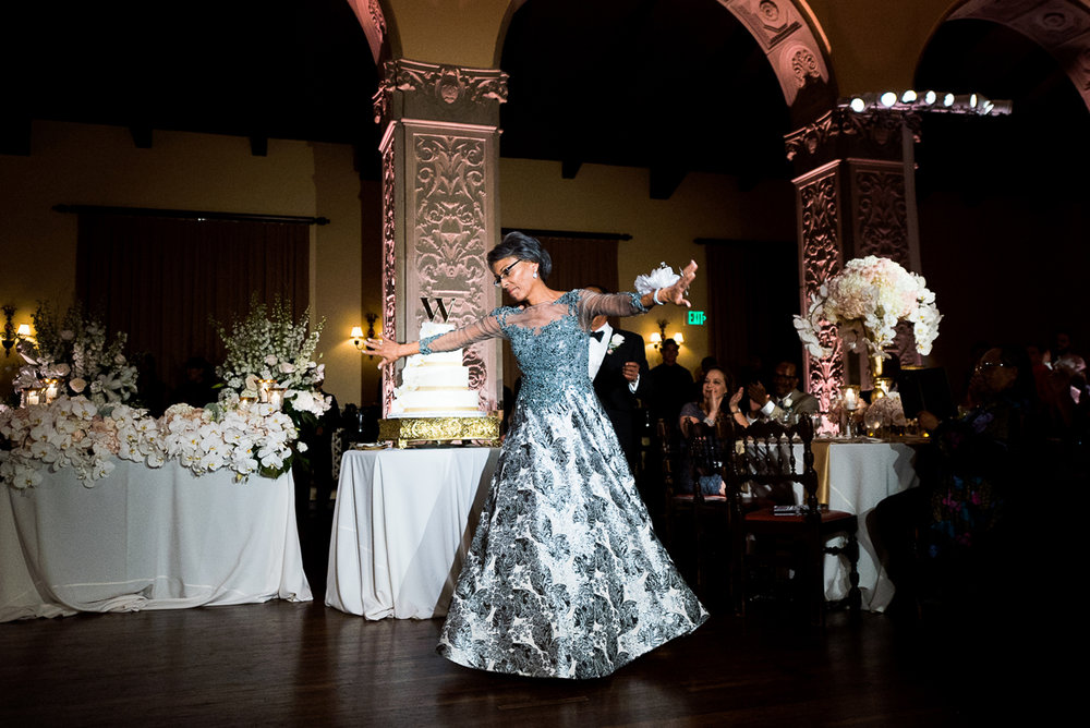 Dreamy Romantic Wedding at Historic Los Angeles Ebell Club grooms mom enter reception.jpg