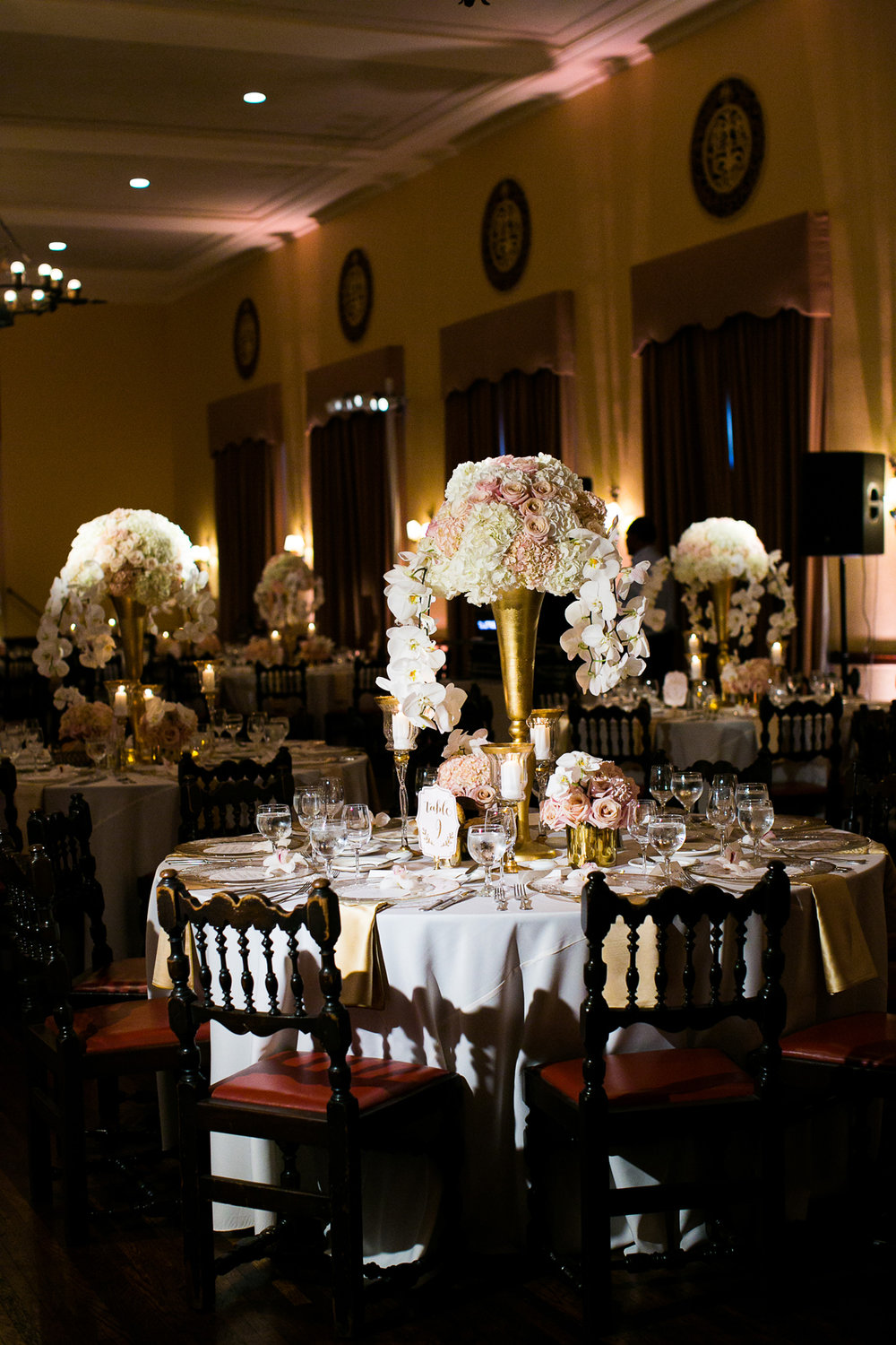 Dreamy Romantic Wedding at Historic Los Angeles Ebell Club tables in reception room.jpg