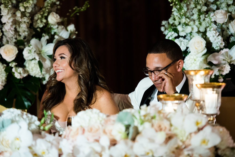 Dreamy Romantic Wedding at Historic Los Angeles Ebell Club bride and groom at sweetheart table.jpg