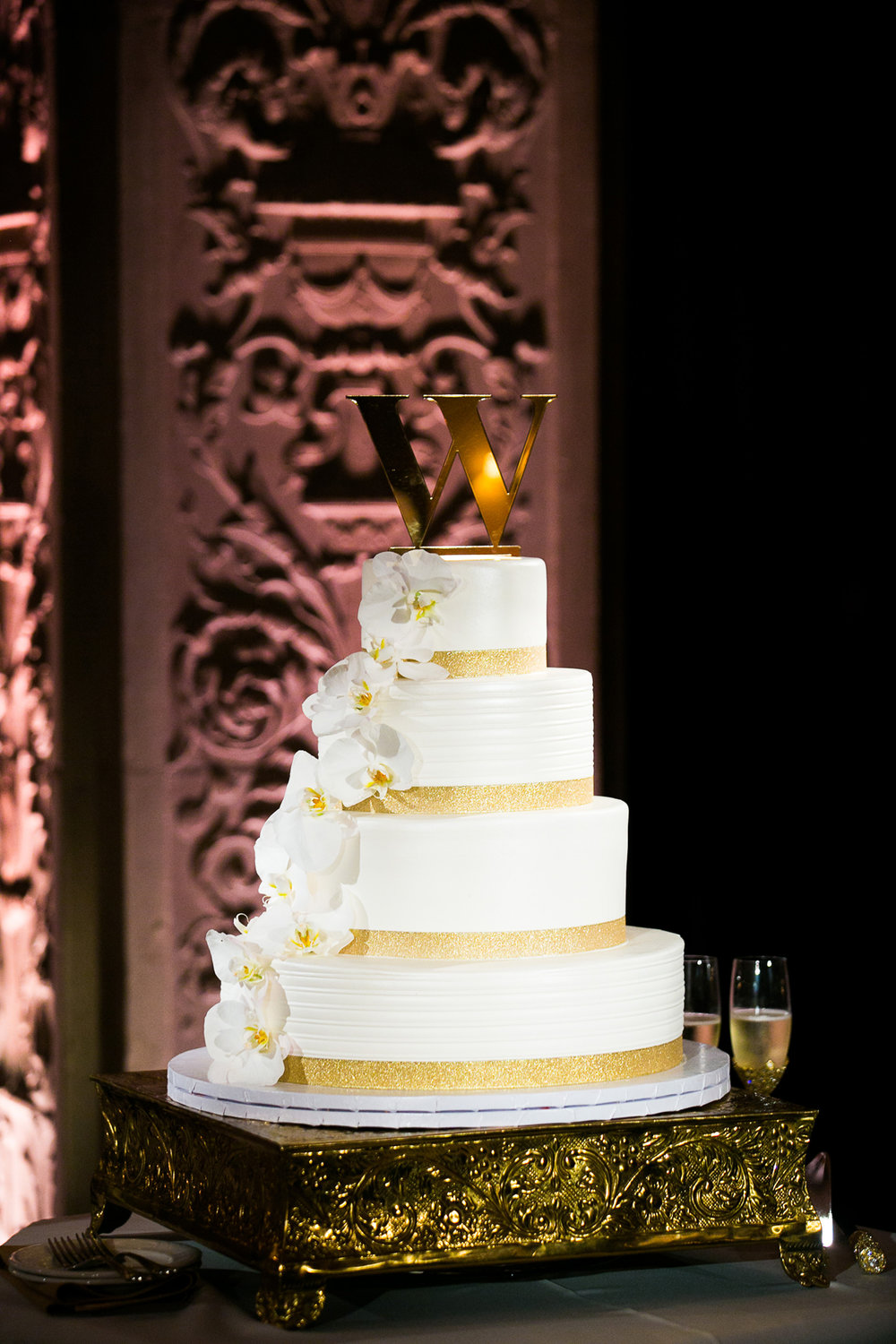 Dreamy Romantic Wedding at Historic Los Angeles Ebell Club wedding cake accented with gold.jpg