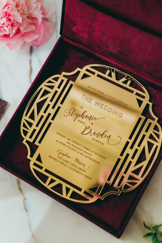 Breathtaking Contemporary Jewel Toned Fall Posh Wedding stunning gold invitation.jpg