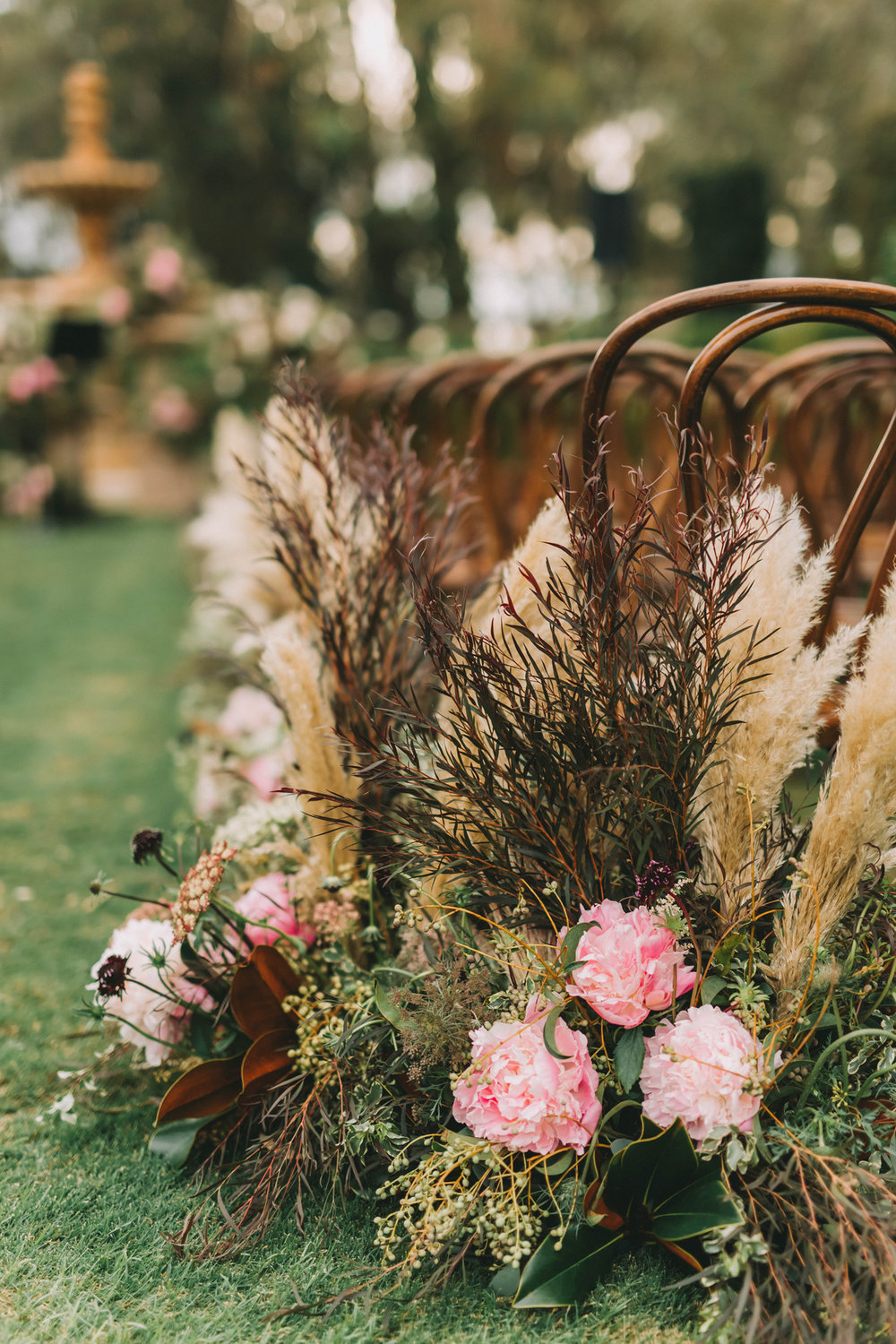 Breathtaking Contemporary Jewel Toned Fall Posh Wedding florals at ceremony.jpg
