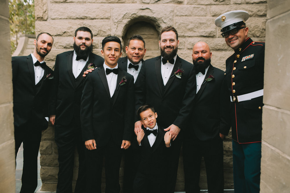 Breathtaking Contemporary Jewel Toned Fall Posh Wedding groom his son and groomsmen.jpg