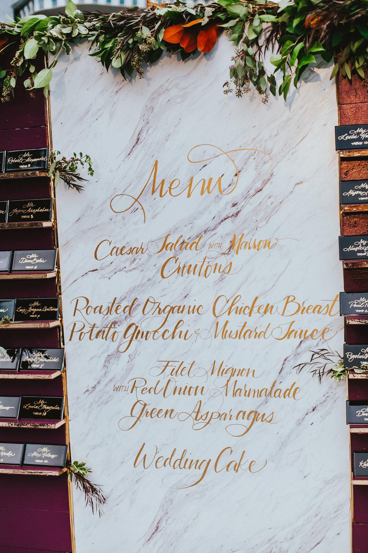Breathtaking Contemporary Jewel Toned Fall Posh Wedding custom giant marble menu.jpg