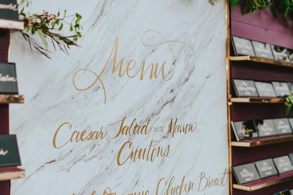 Breathtaking Contemporary Jewel Toned Fall Posh Wedding detail of menu.jpg