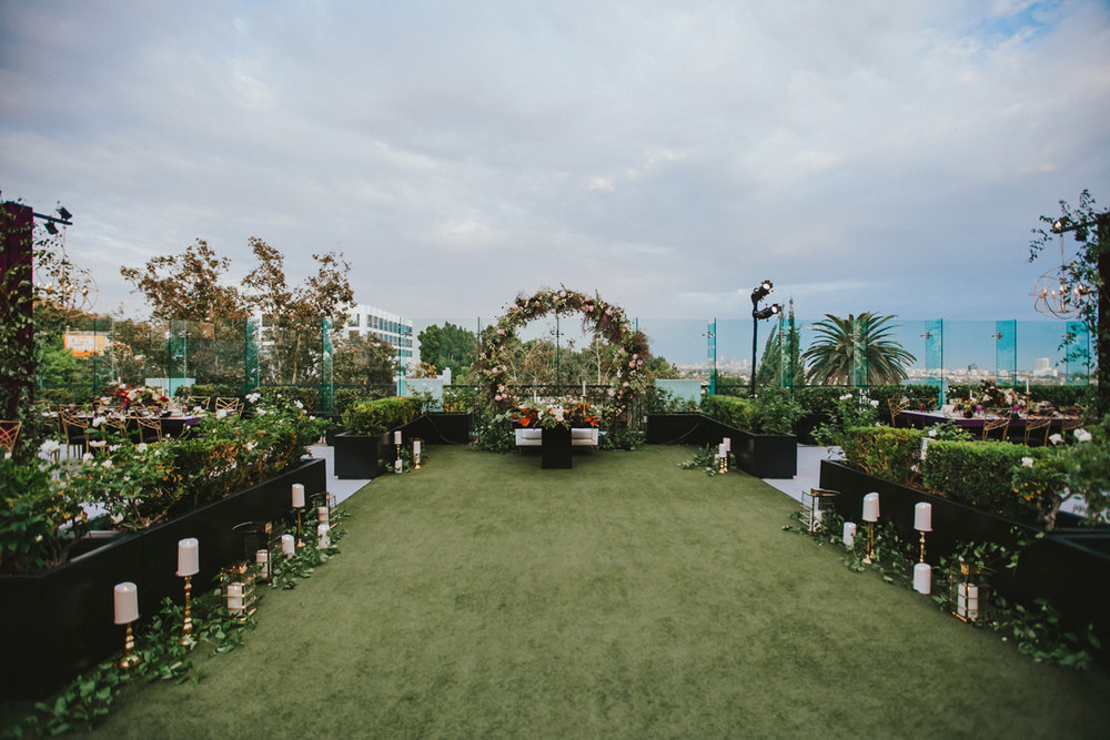 Breathtaking Contemporary Jewel Toned Fall Posh Wedding dinner space on the roof.jpg