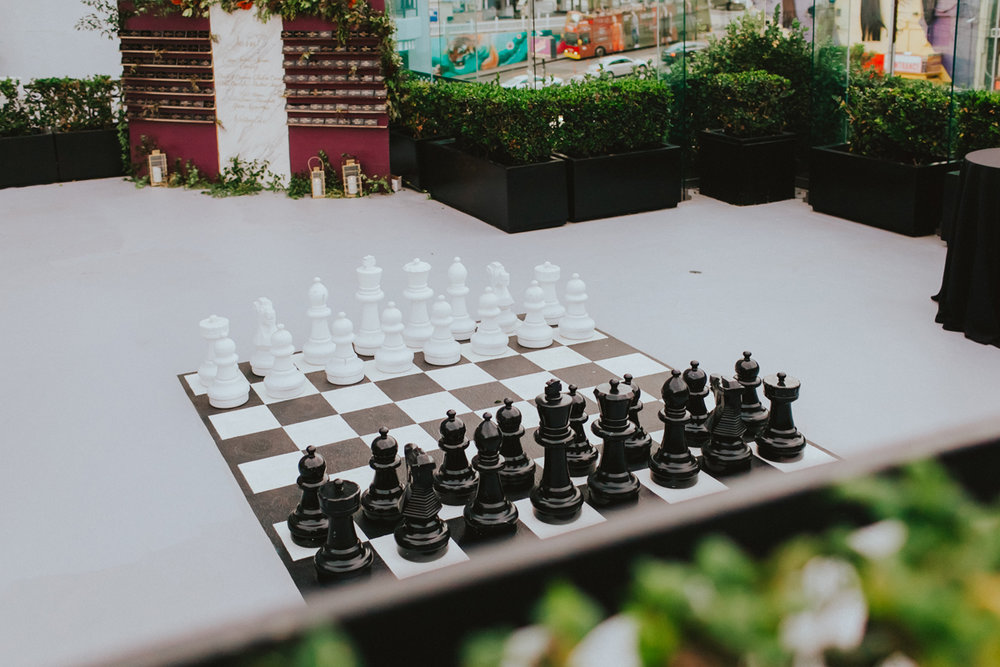 Breathtaking Contemporary Jewel Toned Fall Posh Wedding giant chess set.jpg